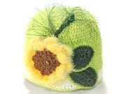 Green Sunflower Baby Hat / Hand Crochet Hat / hat for girl / Crochet Hat with flower / Baby Hat / Spring crocheted baby hat / gift under 30