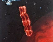 "bacon planet 2  8""x10"" original acrylic painting"