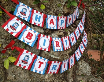 Printable DIY Blue and Red Thomas the Train Theme Personalized Happy Birthday Banner Digital File