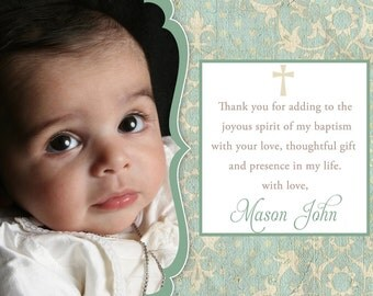 Baptism / Christening / Communion / Dedication Thank You Baby Girl or Boy 5x7 or 4x6 Card - Printable - I Customize You Print