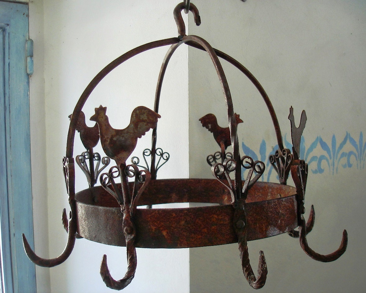 Large Antique French Country Pot Rack Hanger Sausage Or Ham
