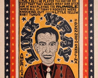 LINK WRAY Ponderosa Stomp Hand Printed Letterpress Poster