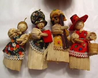 Folk art dolls, vintage cornhusk dolls