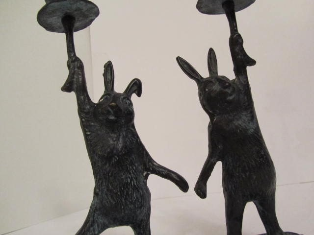 Bronze Sculpture Bunny Rabbit Candle Holder