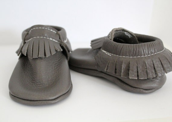 Gray leather baby moccs