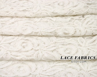 Off WHITE Cotton Lace Fabric by the Yard Wedding Bridal Craft Lace Material Cotton Off White Lace Fabrics - 1 Yard Style 231
