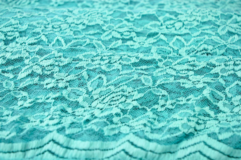 Scalloped Lace Fabric by The Yard Aqua Scalloped Lace Fabric by