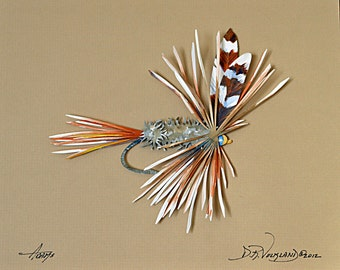 Adams Fishing Fly Paper Sculpture