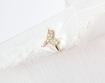 Je t'aime 14K Gold Heart Shaped Ring