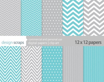 digital scrapbook paper pack herringbone chevron polka dots commercial use - juliette aqua blue grey - INSTANT DOWNLOAD