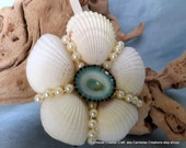 White shell floral ornament with turquoise limpet shell center - CarmelasCoastalCraft