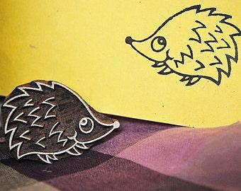 Hedgehog, wood block stamp