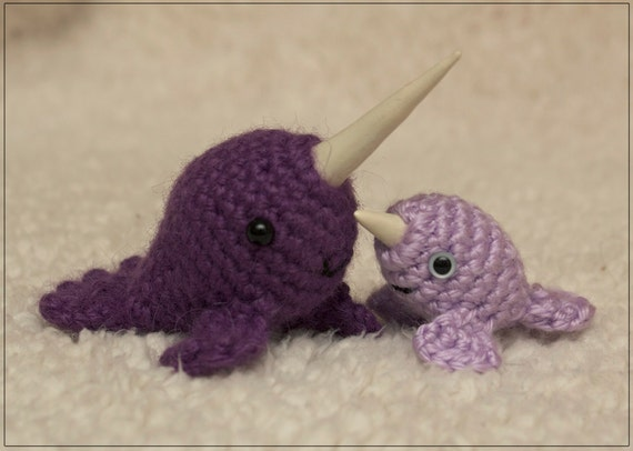 PATTERN: Mr. Narwhal & Baby Narwhal crochet by dragonsdontknit