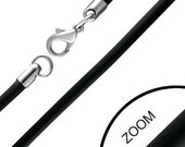Black Rubber 3mm Necklace Chain Stainless Steel Clasp Mens Ladies Unisex