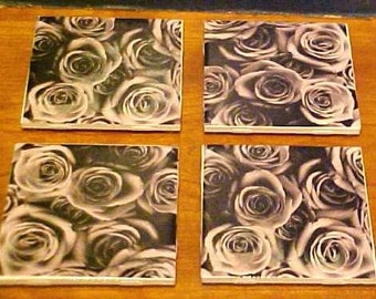 Black and White Roses image on Ceramic 4.25 x 4.25 tile Decoupage coaster set 4 tiles