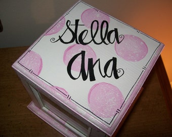 Baby Girl Pink Polka Dot Personalized picture cube