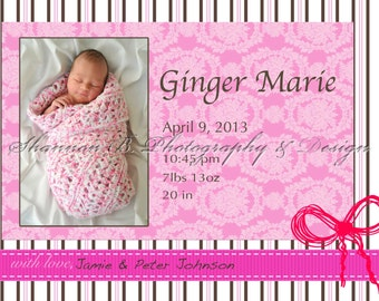 Baby Girl Birth Announcement (Digital File) Ginger Marie - I Design, You Print - Birth Announcement