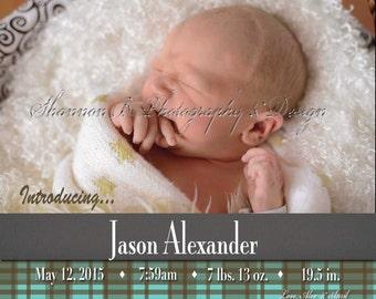Baby Boy  Birth Announcement (Digital File) Jason Alexander - I Design, You Print, Birth announcement