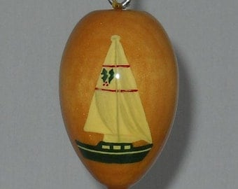 Sailboat Christmas Ornament, Hand Painted Wood Ornament