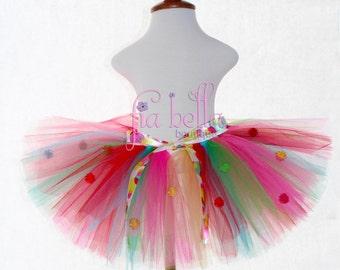 TUTU SKIRT.Rainbow Polka Dot Tutu with Rainbow Pompoms.Newborn Tutu.Baby Tutu.Toddler Tutu.Cakesmash Tutu.Birthday Tutu.Summer Dress