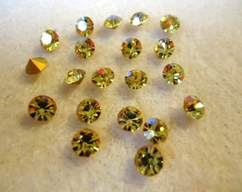 Vintage Glass Round Light Topaz yellow colour Glass Rhinestone Chaton 4mm  Foiled pointed back - Austrian-20 pieces