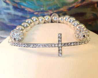 Girl's First Communion Gift Silver and Rhinestone SIDEWAYS Cross Bracelet, Confirmation Gift