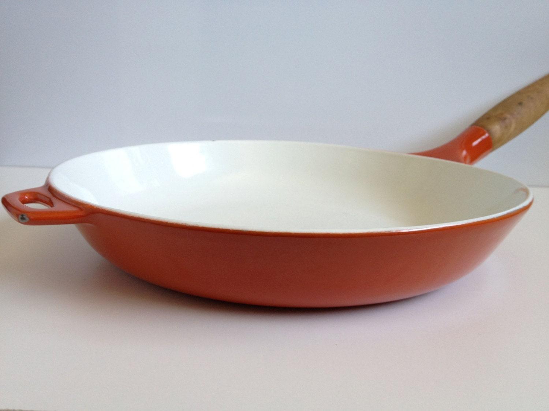 Large Vintage Enameled Cast Iron Skillet Fry Pan Flame Orange