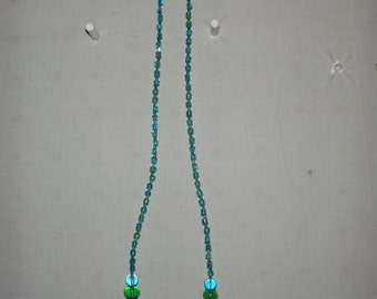 """23"""" blue and green glass bead necklace"""
