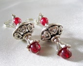Veronese  Hearts Handmade Earrings OOAK  Antique Silver and Red Luster Beads Renaissance Inspired Ornate Heart Filigree Antique Silver