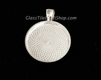 40 Round Bezel Pendant Setting - 25mm (1 inch) Sterling Silver Plated. (25MRDTSSP)