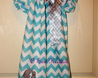 Aqua Chevron, Peasant Dress, Chevron Peasant Dress with Elephant, Peasant Dress with Elephant,