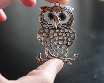 large owl pendant, antique silver, 54 mm x 34 mm