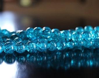 80 approx. aqua 10mm crackle glass beads, 1.5mm hole