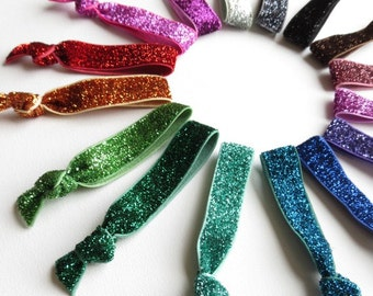 2 Glitter Elastic Hair Ties - Colorful No Tug Ponytail Holders - Sparkly Fold Over Elastic Ribbon Hair Elastics - Choose Your Colors