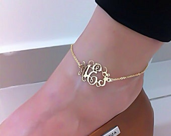 Monogram Anklet - Personalized Monogram - 18K Gold Plated
