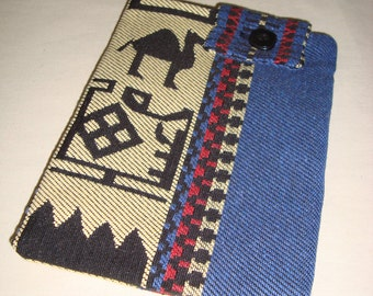 Handmade Kindle Sleeve Multicolor Design Blue