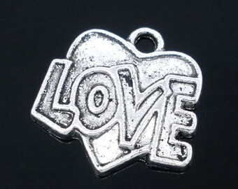 Four Love & Heart Valentine Charms, 18 mm - Item 51005