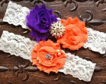 Purple and Orange Wedding Garter, Purple Wedding Garter Set, Lace Wedding Garter, Orange Wedding Garter, Purple Bridal Garter, Pearl Garter