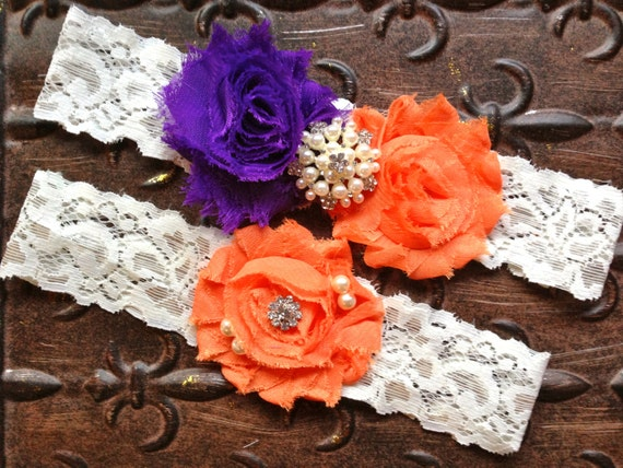 Purple and Orange Wedding Garter, Purple Wedding Garter Set, Lace Wedding Garter, Orange Wedding Garter, Purple Bridal Garter, Pearl Garter