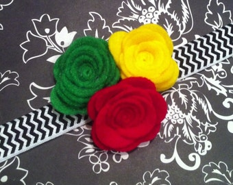 Baby Girl Headband Felt Flower Trio-green, red, yellow-Black Chevron Elastic Headband