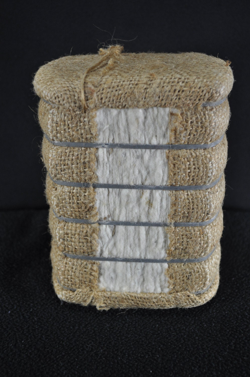 Small Raw Wrapped Cotton Bale Souvenir From Lubbock Texas