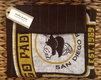 Quilted iPad sleeve - Recycled Padres T-shirt