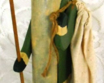 Sale........Sale..........VINTAGE HANDMADE Hand Carved Wooden SANTA, Signed 1991 Katlin, Very Well Made