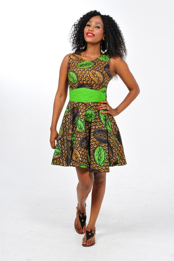 Items similar to african print open back short dress on etsy