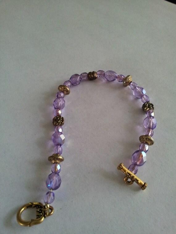 handmade swarovski bead bracelet purple by evelynsgift