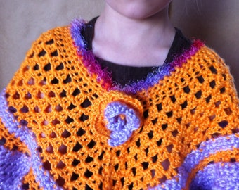 CLEARANCE, crochet girl poncho, children crochet ponchos, handmade child poncho, orange capelet, purple, children accessories, gifts