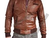 handmade Men brown leather jacket. men brown bomber biker leather jacket, brown leather jacket for men