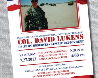 Military Party with Picture - Deployment or Welcome Home Invitation - American Flag