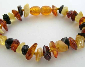 Baltic Amber - Teething Bracelet for Baby - Mix Colored