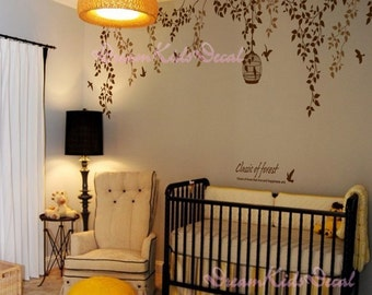 Nursery wall decal baby girl and name wall decals flowers wall sticker wedding office- vines birdcage and birds-DK055